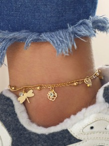 Dragonfly & Flower Charm Layered Chain Anklet