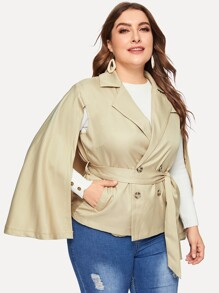 Plus Tie Waist Double Breasted Cape Coat