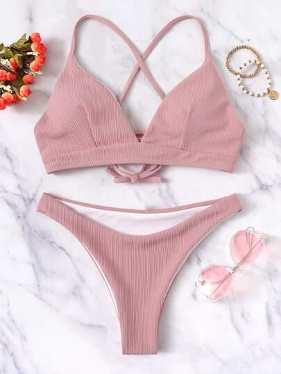 Damen Häkel-Bikini Oberteil rosa Netz-Look M 40//42 Badeanzug Neu!!!