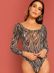 Scoop Neck Zebra Print Bodysuit