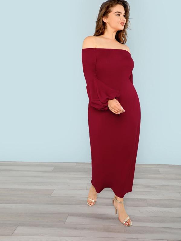 bd5b2b9211 Plus Off Shoulder Lantern Sleeve Dress | SHEIN IN