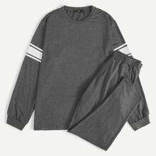 Men Contrast Panel Pullover & Pants PJ Set - $32.00