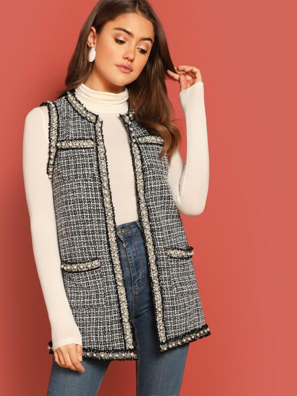 Pearl Beaded Frayed Trim Tweed Shell Coat Shein