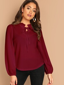Frill Tie Neck Curved Hem Top