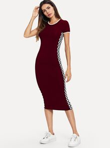 Checkered Sideseam Bodycon Longline Dress