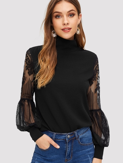 High Neck Lace Lantern Sleeve Top
