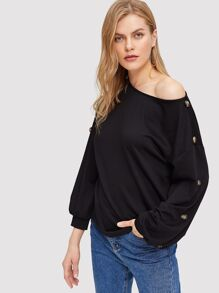 Drop Shoulder Buttoned Sleeve Pullover