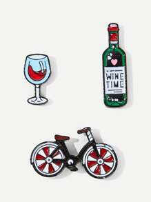 Bicycle & Wine Brooch Set 3pcs