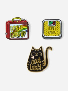 Cat & Box Brooch Set 3pcs