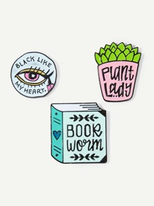 Plant & Book Brooch Set 3pcs