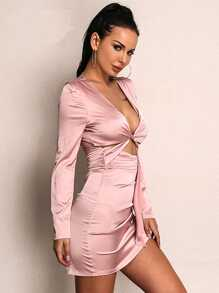 Joyfunear Knot Front Wrap Bodycon Satin Dress