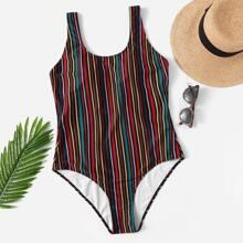 Plus Striped Low Back Colorblock One Piece Swimwear