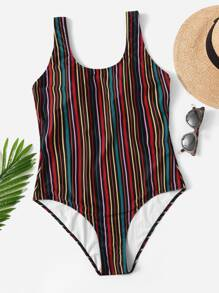 Plus Striped Low Back Colorblock One Piece Swimwear