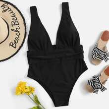 Plus Ruched Low Back One Piece Swimwear