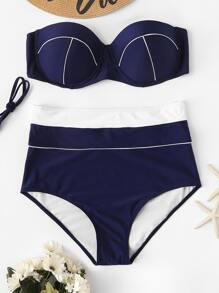 Plus Contrast Piping Bandeau With High Waist Bikini
