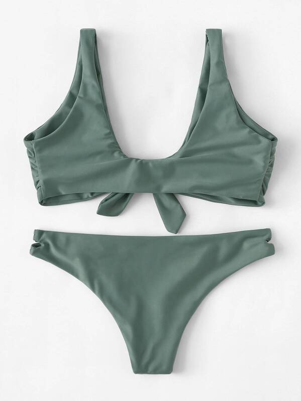 f15cdc1a8d Knot Front Top With Ladder Cut-out Bikini Set | SHEIN