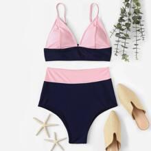 Two Tone Color Top With High Waist Bikini Set