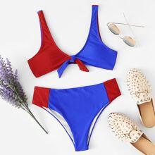Two Tone Color Tie Front Bikini Set