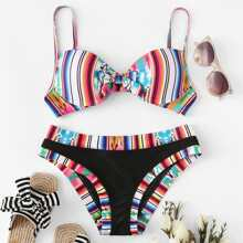 Random Striped Tie Front Bikini Set