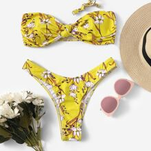 Random Floral Bandeau Top With High Leg Bikini