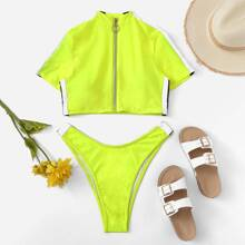 Striped Zipper-up Top With High Cut Two Piece Swimwear