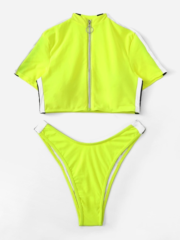a9f94493e4 Neon Lime Zipper-up Short Sleeve Two Piece Swimwear