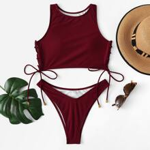 High Neck Top With High Cut Two Piece Swimwear