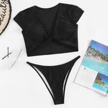 SHEIN   Twist Front Top With High Cut Two Piece Swimwear   Goxip