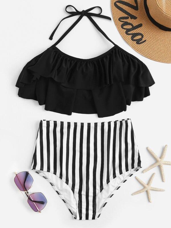 f213126875 Flounce Top With Random Striped High Waist Bikini Set | SHEIN UK