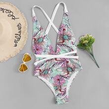 Random Tropical Criss Cross Backless One Piece Swimwear