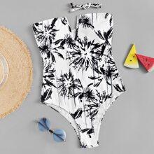 Random Graphic Bandeau One Piece Swimwear