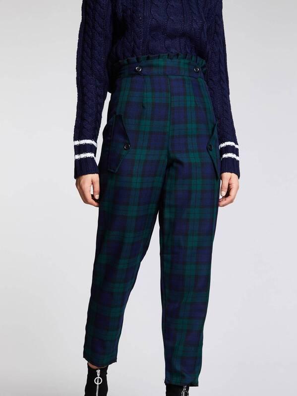 1b4f388f54307 Tartan Check Wide Leg Trousers | SHEIN UK