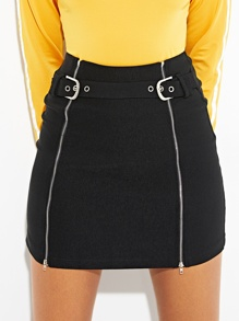 Zip Up Buckle Utility Skirt