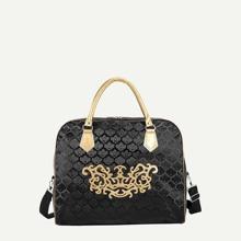 Textured Curved Top Satchel Bag