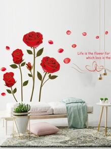Rose & Slogan Print Wall Sticker