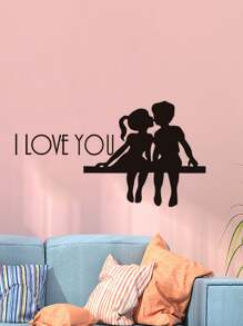 Couple & Slogan Print Wall Sticker