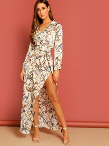 Chain Print Split Surplice Maxi Shirt Dress