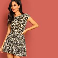 Low Back Leopard Print Flare Dress