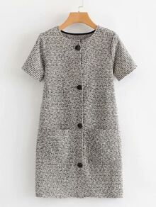 Dual Pocket Button Through Tweed Dress
