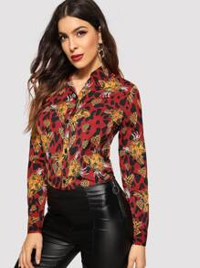 Cat Print Leopard Trim Button Front Blouse
