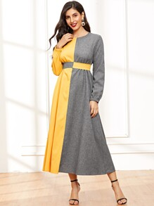Color Block Bishop Sleeve Longline Dress