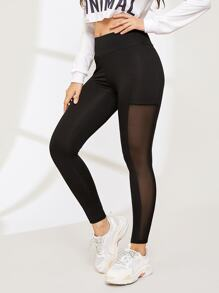 Contrast Mesh Wide Waistband Leggings