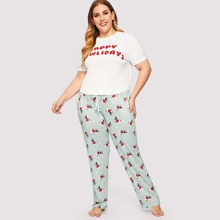 INOpets.com Anything for Pets Parents & Their Pets Plus Letter And Cartoon Print Pajama Set