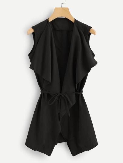 Plus Self Tie Sleeveless Coat