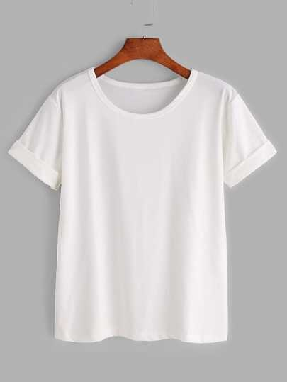 Plus Solid Rolled Sleeve Tee