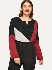 Plus Color-Block Curve Hem Blouse