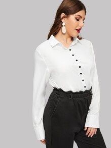 Plus Solid Single-breasted Blouse