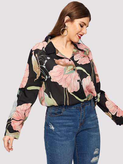 fea5396d8463fe Plus Floral Print Single-breasted Blouse