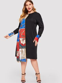 Plus Chain Print Panel Asymmetrical Hem Dress