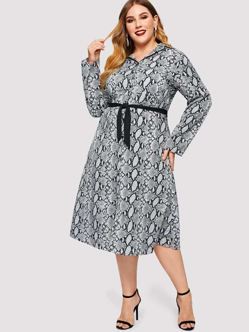 1d07541cd Plus Snake Print Belted Shirt Dress | ROMWE